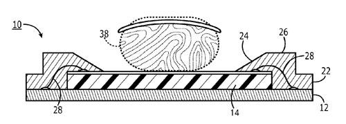 Apple patent fingerprint sensor encapsulation 0031 Un brevet Apple décrit un capteur dempreintes encapsulé
