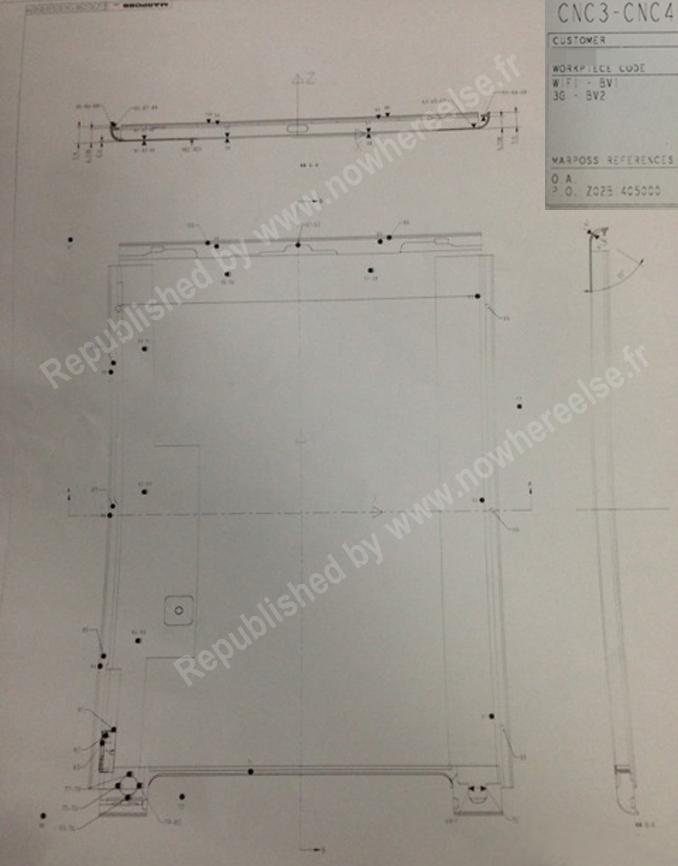 iPad 5 Schema Les dimensions de liPad 5 dévoilées sur un schéma