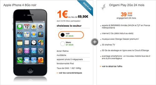 iphone 4 orange sfr Orange et SFR proposent liPhone 4 à 1€