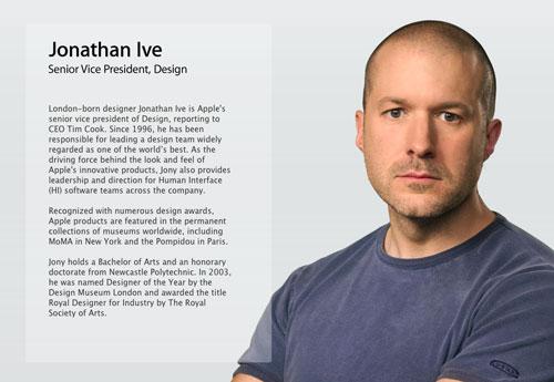 jony ive Jonathan Ive : officiellement vice président du design chez Apple