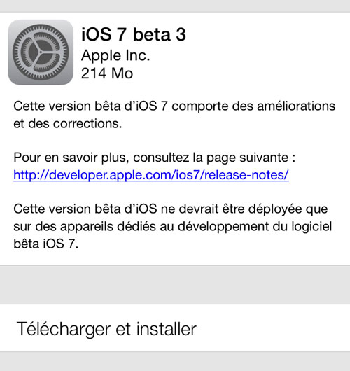 ios 7 beta 3 iOS 7 beta 3 est disponible