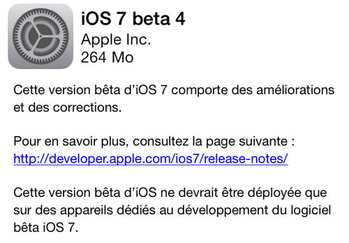 ios 7 beta 4 iOS 7 beta 4 est disponible
