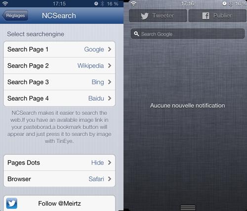 screen ncs Cydia : NCSearch, ajoute une barre de recherche au centre de notification