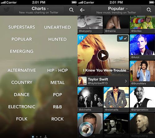 Twitter #music est disponible sur lApp Store français