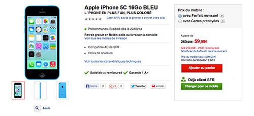 5C LiPhone 5C est disponible en précommande chez SFR