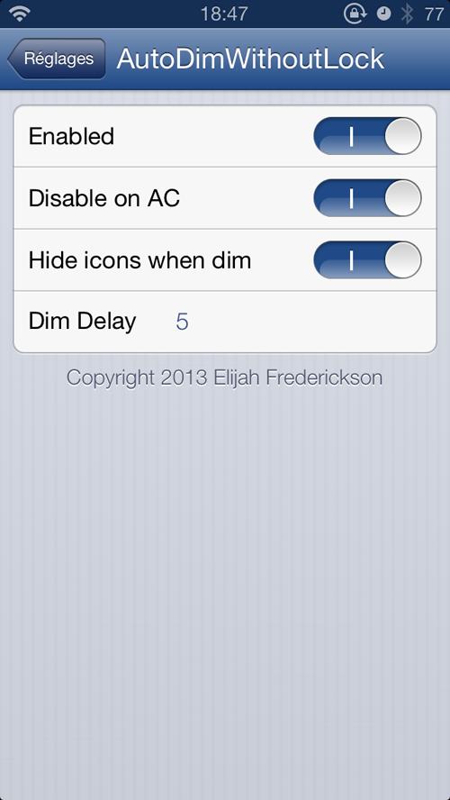 IMG 1882 Cydia : AutoDimWithoutLock, éteignez léclairage de votre écran sans verrouiller votre appareil