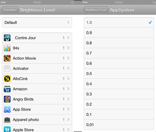 IMG 1920 Cydia : Dandelion, configurez la luminosité de votre écran pour chaque application
