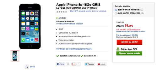 iphone 5S Sfr LiPhone 5S à partir de 99,99 € chez SFR