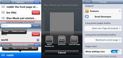 screens c Cydia : Canopy, ajoutez des nouvelles fonctionnalités à Safari