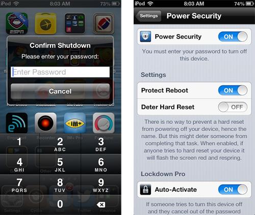 screens ps Cydia : Power Security, protégez larrêt de votre appareil par un mot de passe