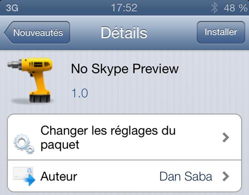 NoSkypePreview Cydia : No Skype Preview, retirez la prévisualisation des messages dans les alertes Skype