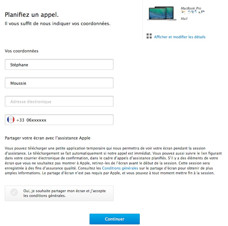 Apple support Apple propose le partage décran pour le support technique
