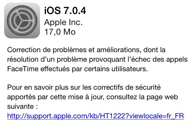 ios 704 iOS 7.0.4 est disponible