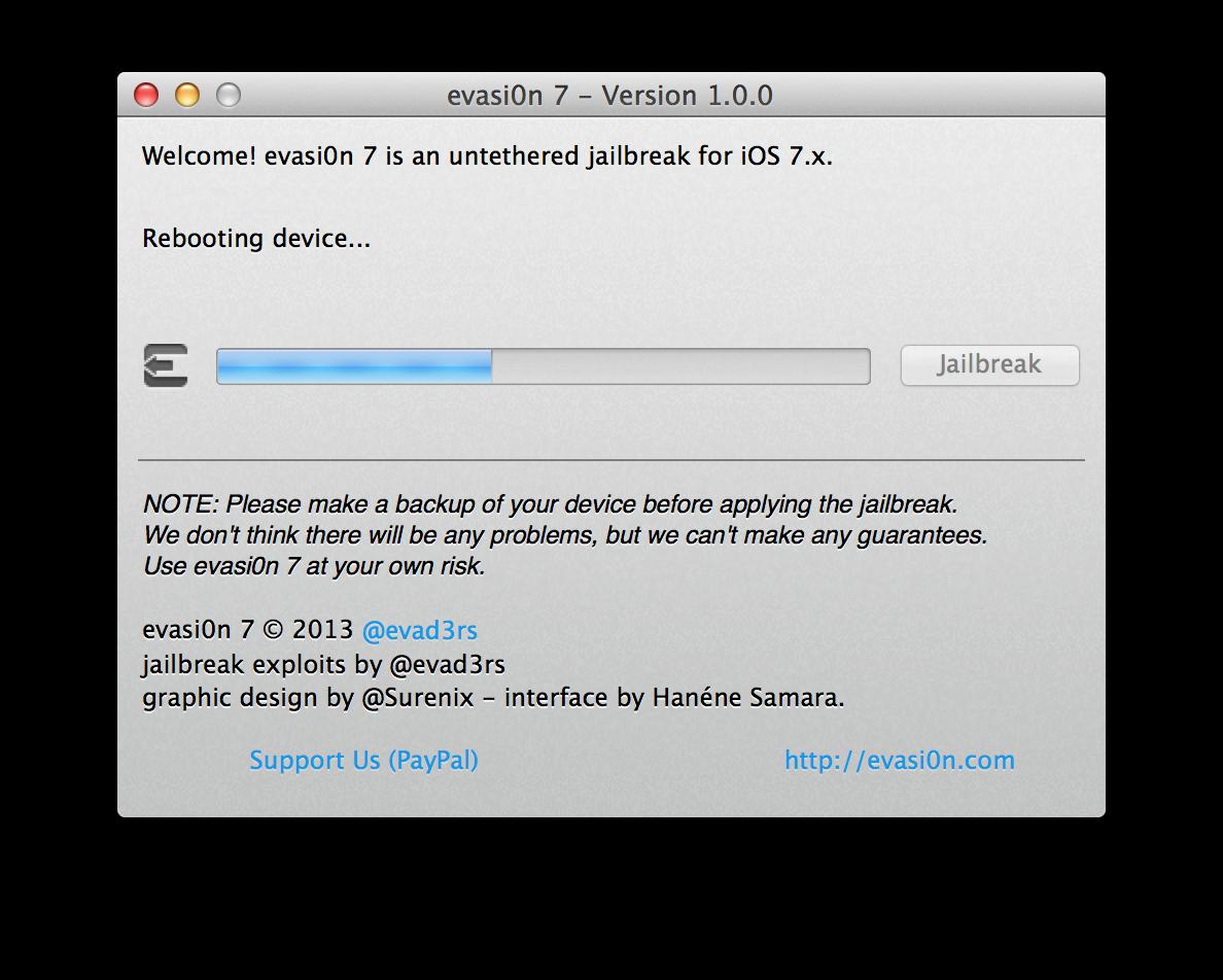 Capture d'écran 2013 12 22 à 13.33.58 [TUTO] evasi0n 7 : Jailbreak Untethered iOS 7.x pour iPhone 5S et plus
