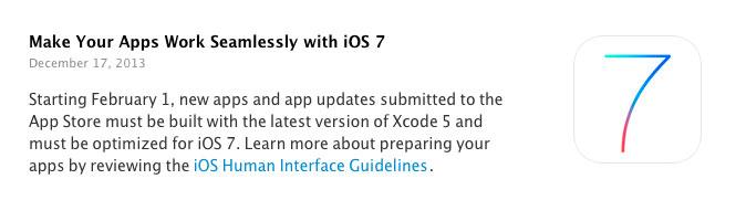 ios 7 app submission À partir du 1er Février, les Apps devront être optimisées pour iOS 7