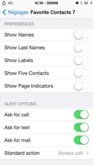 FavoriteContats7 1 320x568 Cydia  : Favorite Contacts 7, ajoutez vos contacts favoris au centre de notifications