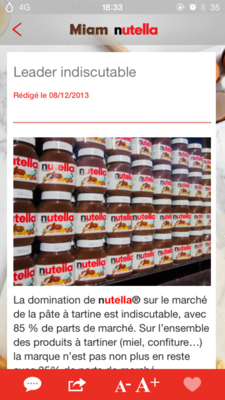 Miam Nutella 2 320x568 Fan de Nutella ? Cette application est faite pour vous !