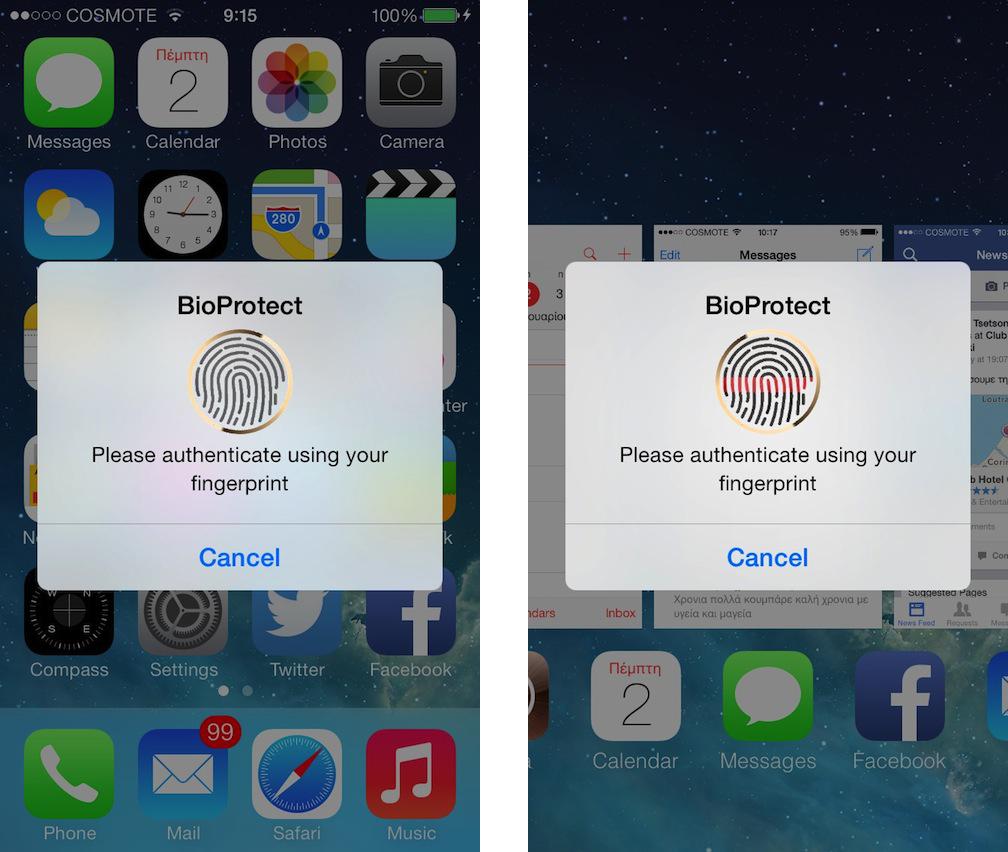 bioprotect1 Cydia : BioProtect, déverrouillez vos applications avec le Touch ID