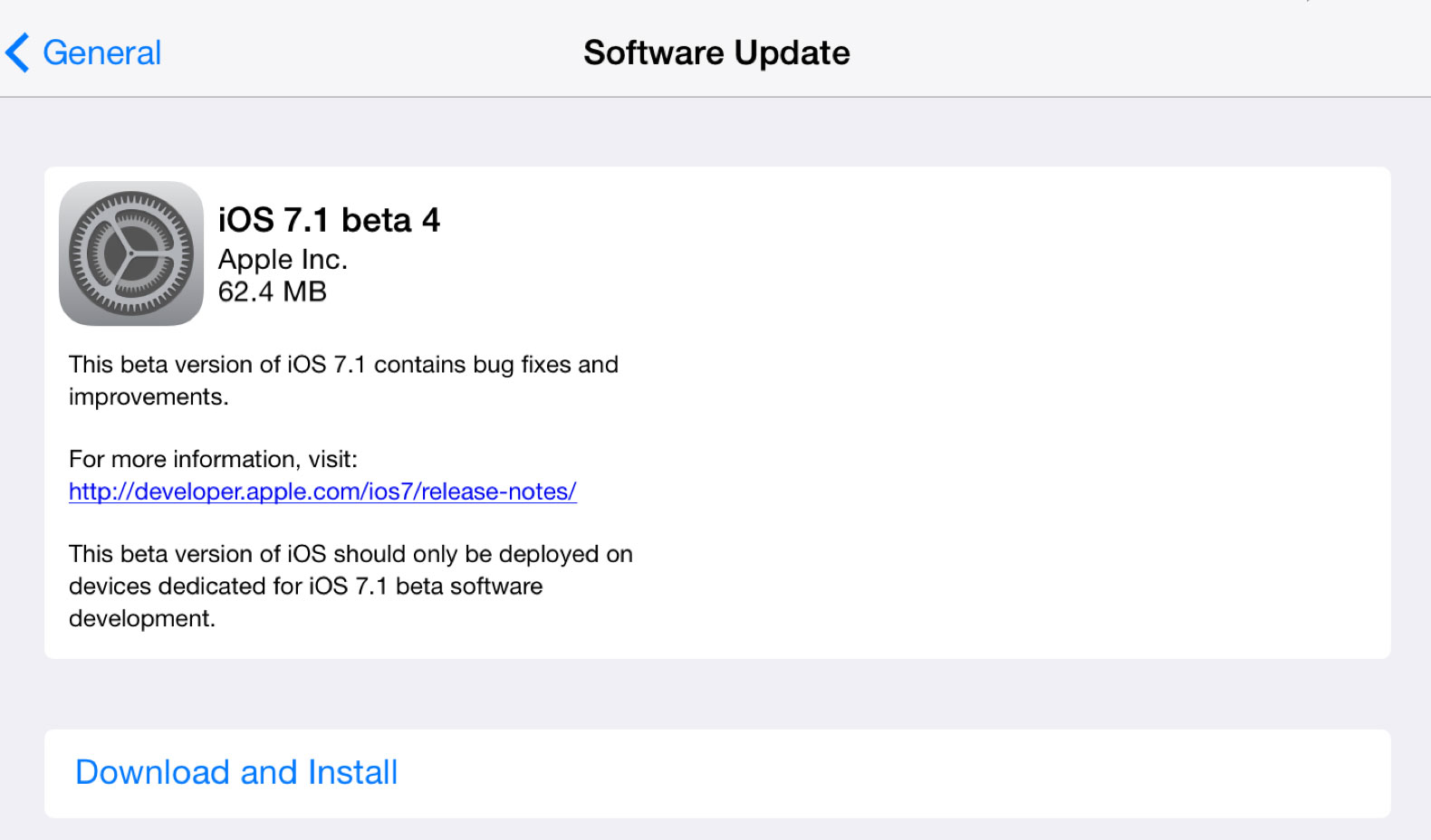 ios 7.1 beta 41 iOS 7.1 bêta 4 est disponible pour les développeurs