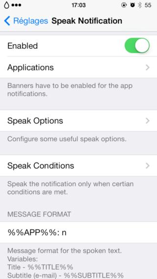 Speak Notifications 1 320x568 Cydia : Speak Notification, donnez de la voix à vos notifications