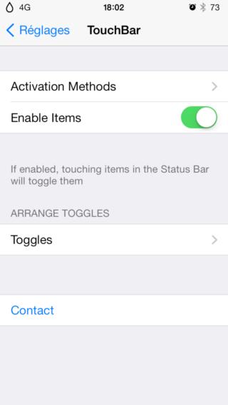 TouchBar 1 320x568 Cydia : TouchBar, une nouvelle barre de réglages pour votre appareil