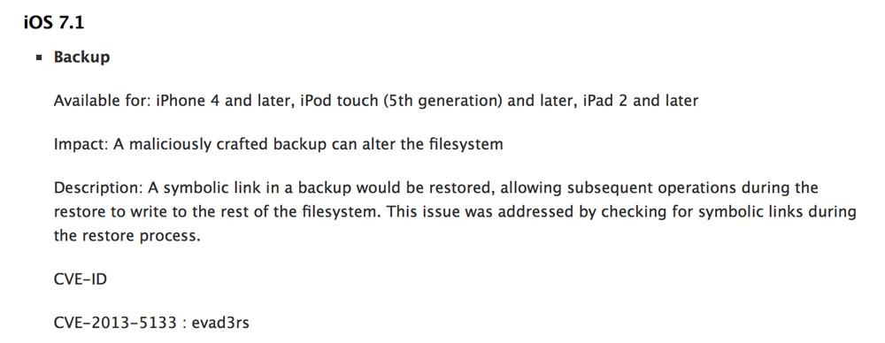 iOS71 iOS 7.1 : La team evad3rs citée par Apple concernant les failles de sécurité