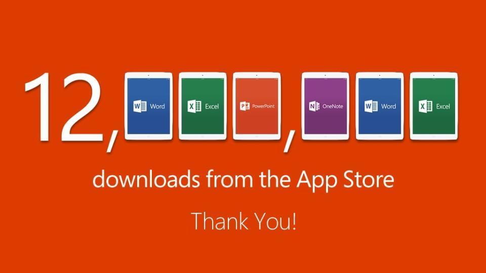 Microsoft annonce 12 millions de téléchargements pour sa suite Office pour iPad