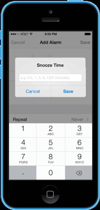 snooze1 320x670 Cydia : Snooze, définissez le délai de rappel de chacune de vos alarmes