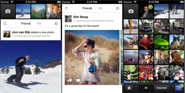 Facebook camera Deux applications de Facebook quittent lAppStore