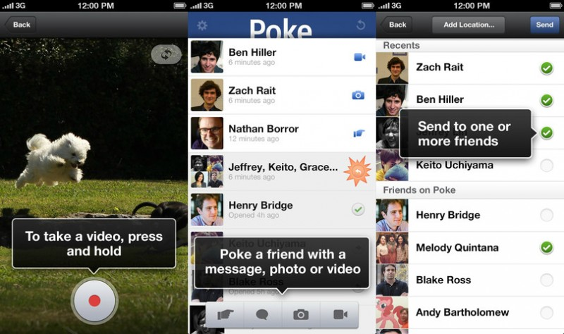 Facebook Poke Deux applications de Facebook quittent lAppStore
