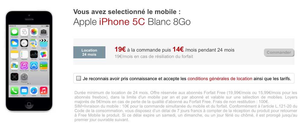 Free iPhone5C LiPhone 5C est désormais en location chez Free Mobile