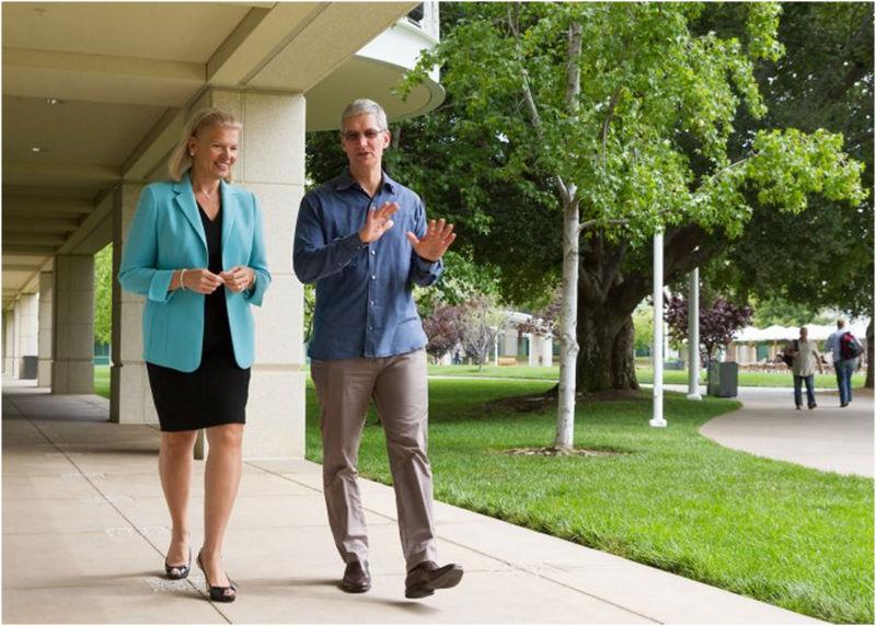 Apple CEO Tim Cook et IBM CEO Virginia Rometty Apple et IBM ont annoncé un partenariat dédié aux entreprises