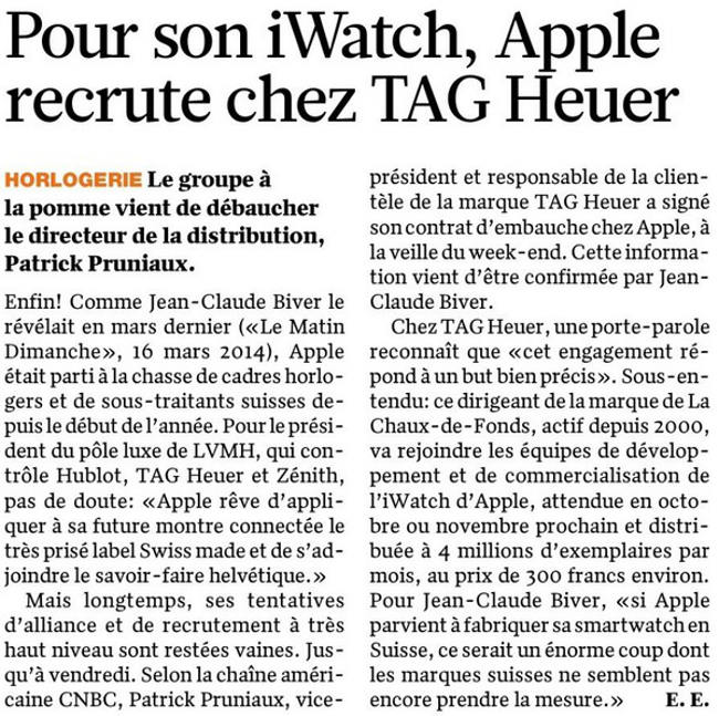 Jean Claude Biver iWatch Apple iWatch : Les horlogers suisses en danger ?