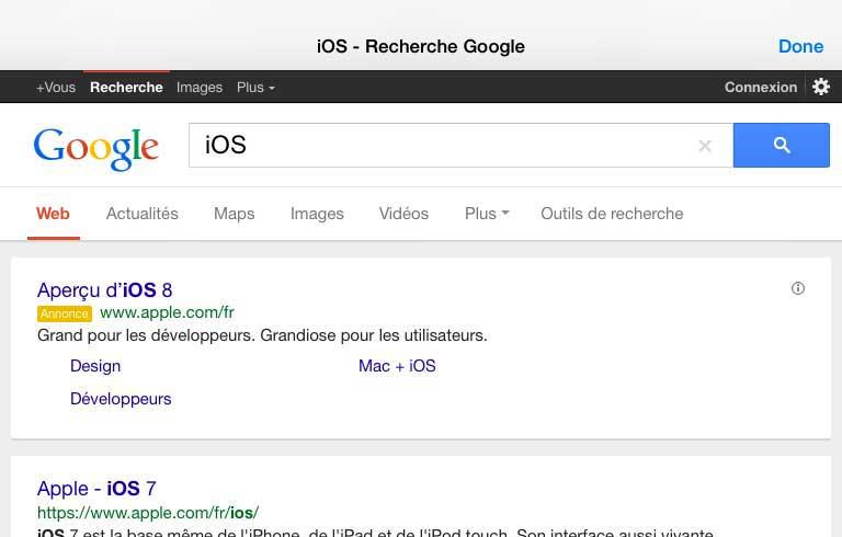 PopSearch 32 Cydia : PopSearch, effectuez rapidement une recherche dun mot ou dune phrase