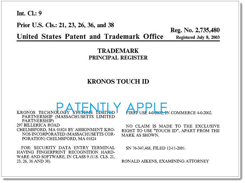 USPTO brevet touch id LUSPTO rejette le dépôt de lappellation Touch ID par Apple