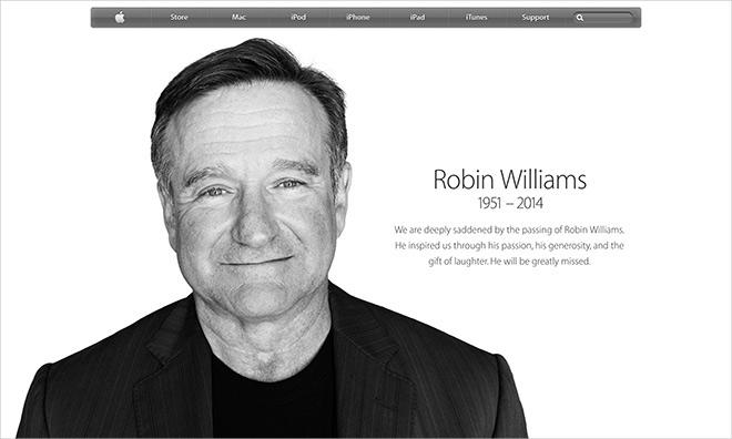 Apple Robin Williams Webpage Apple crée une page d'hommage à Robin Williams sur son site
