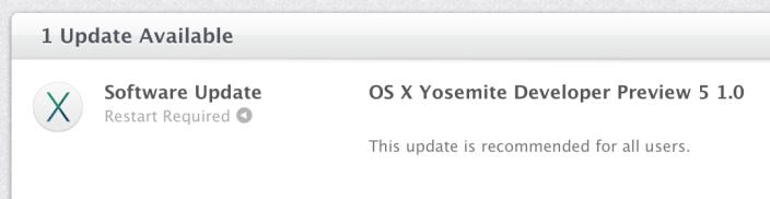 OS X Yosemite Developer Preview 5 OS X Yosemite Developer Preview 5 est disponible