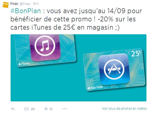 Capture1 500x380 Obtenez votre carte iTunes avec 20% de remise chez la Fnac !