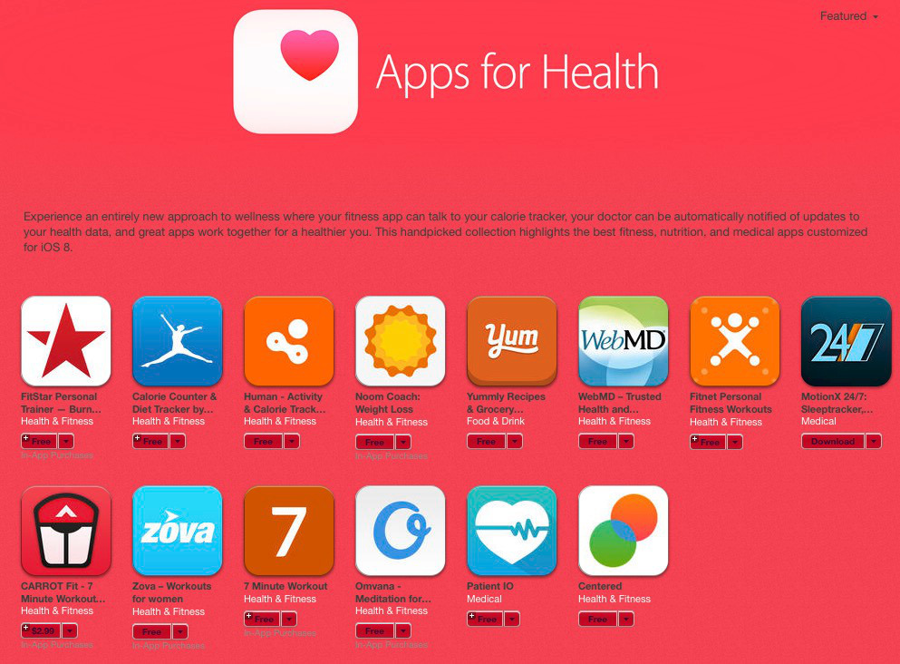 apps for health Nouvelle section Santé sur lAppStore