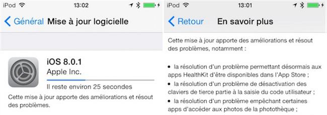mise a jour ios 8.0.11 iOS 8.0.2 arrive dans quelques jours