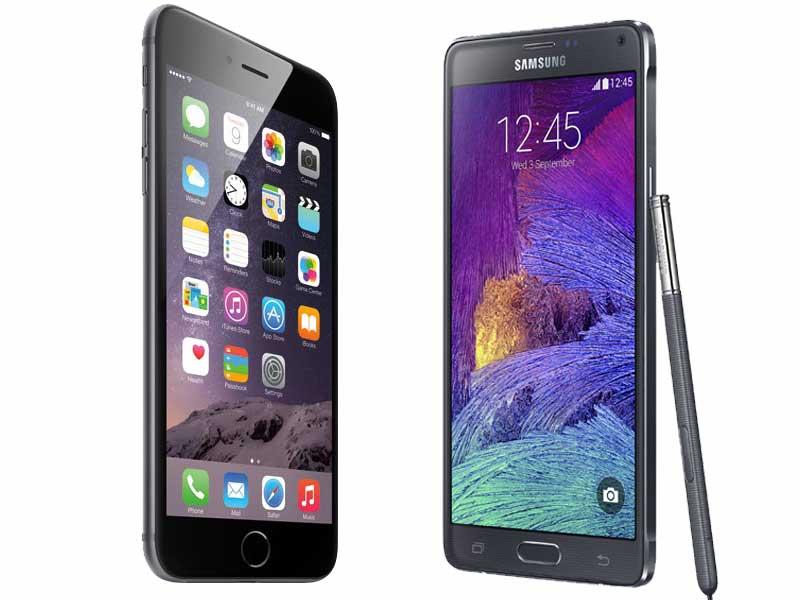 samsung galaxy note 4 vs apple iphone 6 plus Samsung veut devancer l'iPhone 6 en Chine avec son Note 4