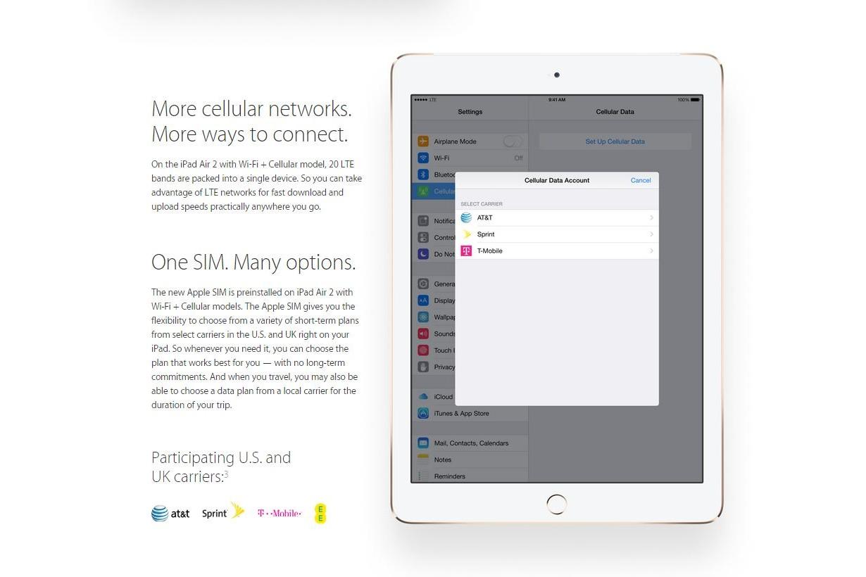 Apple SIM iPad Air 2 iPad mini 3 Apple SIM nest pas du goût de tous les opérateurs US