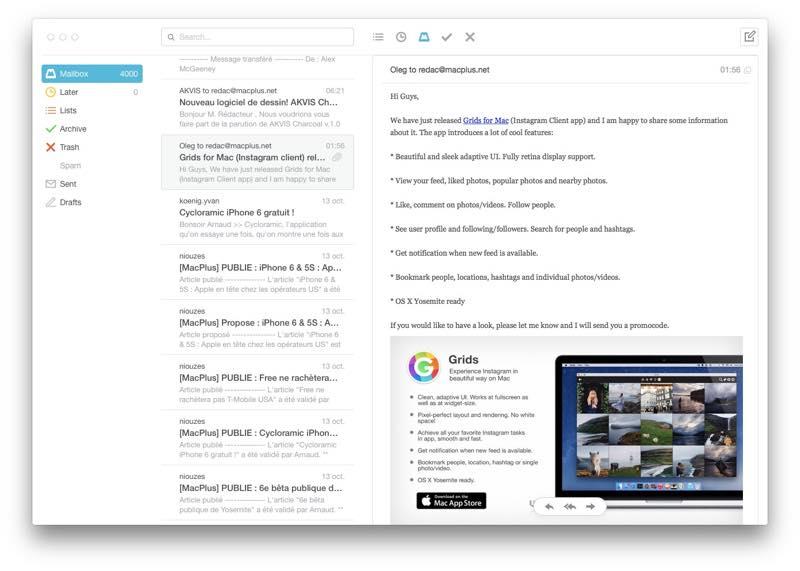 MailBox en beta ouverte sur Mac MailBox 0.3.12 disponible sur Mac et optimisé pour iOS 8