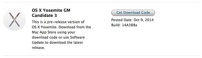 OS X 10.10 Yosemite GM Candidate 3 1 Le 3eme OS X 10.10 Yosemite GM Candidate est disponible