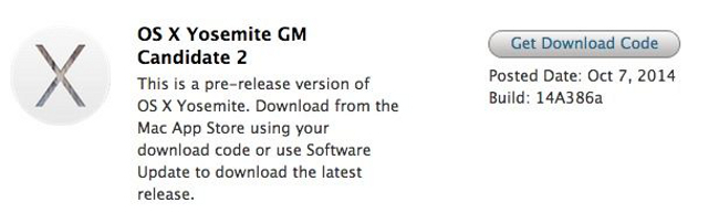 OS X Yosemite GM candidate 2 tr OS X Yosemite GM candidate 2 disponible pour les développeurs