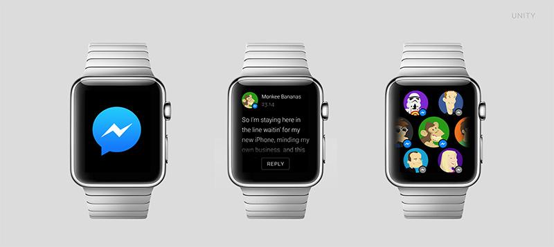 apple watch facebook messenger1 A quoi ressembleront les applications sur lApple Watch ?