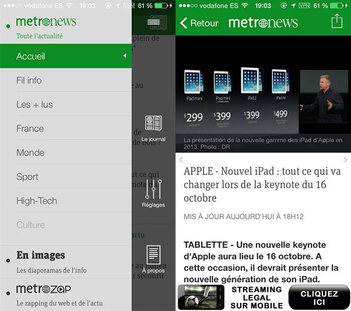 metronews screeens Metronews   lactualité en direct sur iPhone