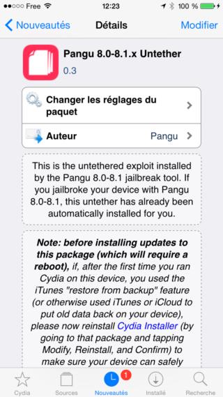 PanGu 320x569 Jailbreak iOS 8 : Pangu 8.0 8.1 Untether passe en version 0.3
