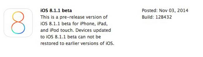 iOS 8.1.1 disponible pour les developpeurs Apple a publié iOS 8.1.1 pour les développeurs