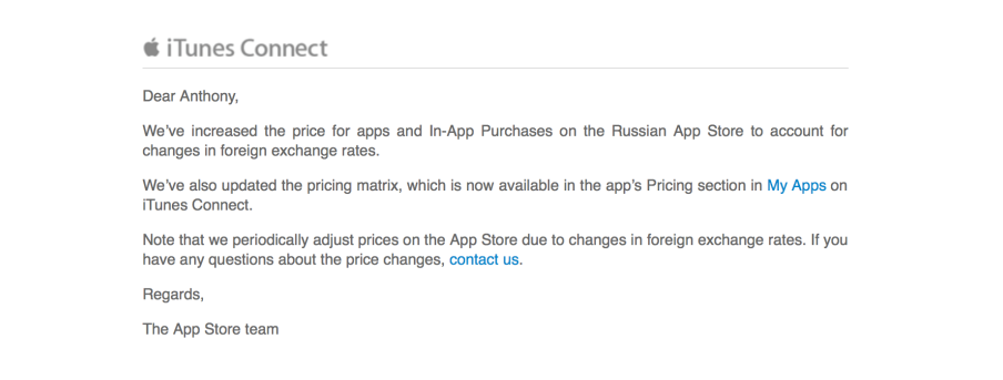 Apple augmente les prix dans son App Store en Russie Apple augmente les prix dans son App Store en Russie